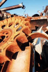 old rusty scrap metal, close up view